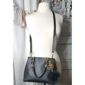 Michael Kors textured black leather bag